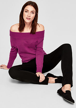 Gebreide off-shoulder trui