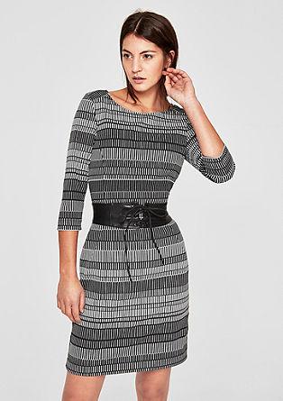 Črno-bela obleka iz žakarda