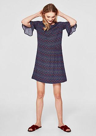 Printed jurk met volantmouwen