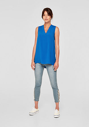 Long-Blusentop mit V-Neck