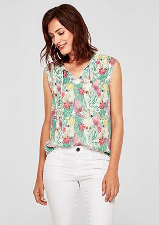 Lahka bluza brez rokavov z eksotičnim potiskom