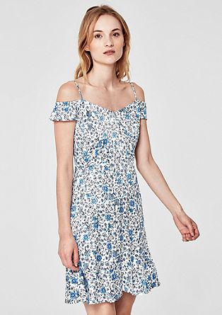 Off-shoulder jurk van satijn