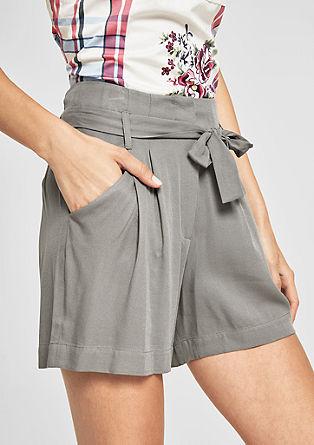 Paperbag-Shorts mit Webstruktur