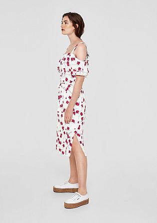 Off Shoulder-Kleid mit Layer-Volant