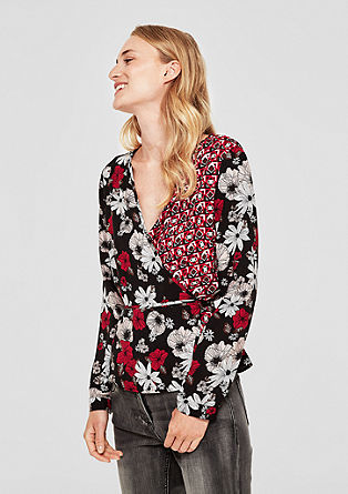 Patterned wrap-over blouse from s.Oliver