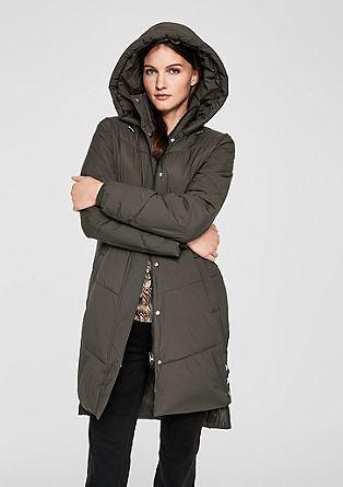 Módní kabát zimitace prachového peří