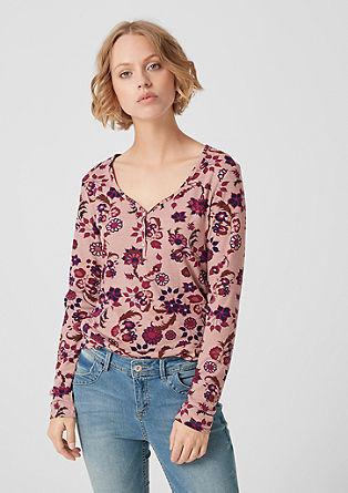 Majica dolg rokav s cvetličnim potiskom