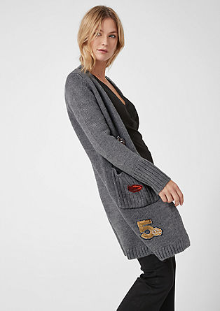 Long Cardigan mit Patches