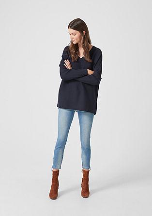 Žebrový pulovr s netopýřími rukávy