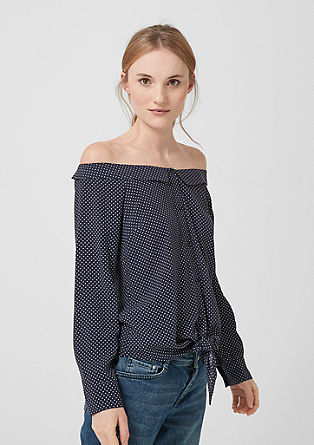 Gepunktete Off Shoulder-Bluse
