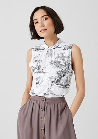 Mouwloze blouse met print all-over