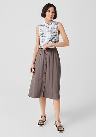 Midi skirt with a decorative button placket from s.Oliver