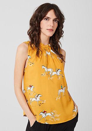 Mouwloze blouse met ruches aan de kraag