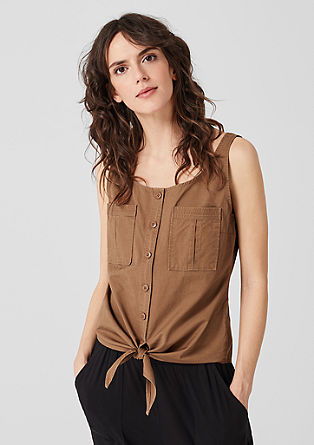 Mouwloze blouse met geknoopt detail