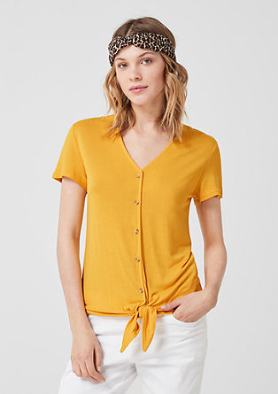 Knotted T-shirt with decorative buttons from s.Oliver
