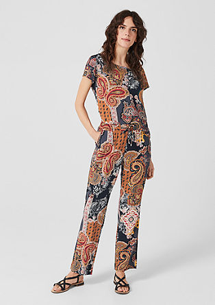 Cloth trousers with an all-over print from s.Oliver