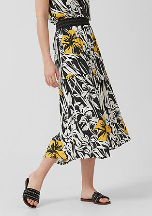 Midi skirt with a floral print from s.Oliver