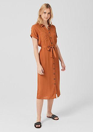 Viskozna obleka z letvijo z gumbi