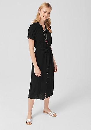 Viscose jurk met knoopsluiting