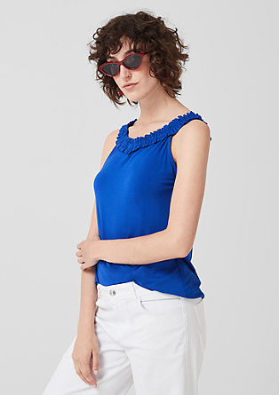 Top with a frilled neckline from s.Oliver