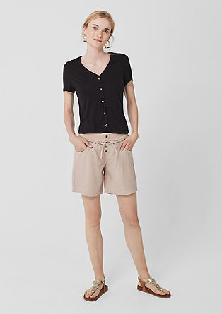 Lyocell shorts with a ribbed waistband from s.Oliver