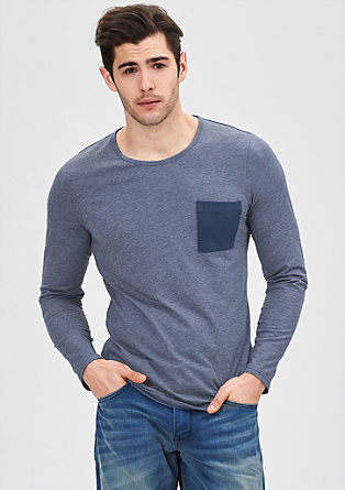 Long sleeve jersey top with a chest pocket from s.Oliver