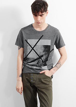 Melange T-shirt with a large print from s.Oliver