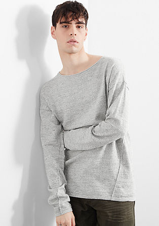 Mottled fine knit jumper with stitching from s.Oliver