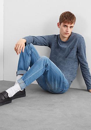 Melirana majica z dolgimi rokavi z žepom