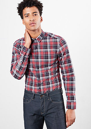 Extra Slim: cotton shirt with a check pattern from s.Oliver