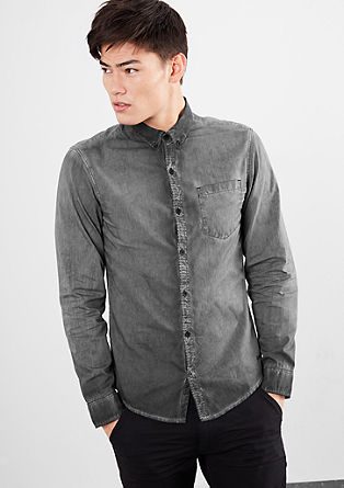 Slim Fit: shirt with a cold pigment dye effect from s.Oliver