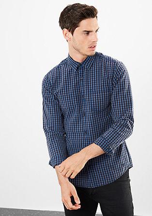 Extra Slim: Vichy-Langarmhemd