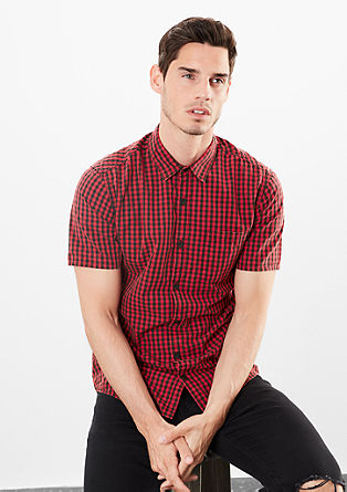 Extra Slim: Gingham check short sleeve shirt  from s.Oliver