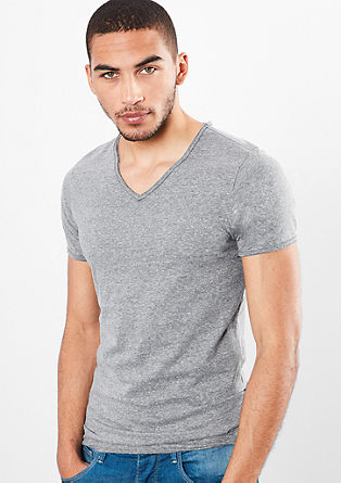 Melange V-neck basic T-shirt from s.Oliver