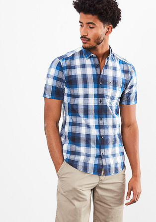 Extra Slim: short sleeve check shirt from s.Oliver