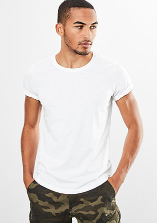 Majica kratek rokav iz plamenaste džersi preje