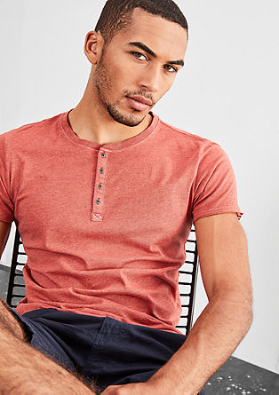 Henley-Shirt in Pigment-Dye-Optik