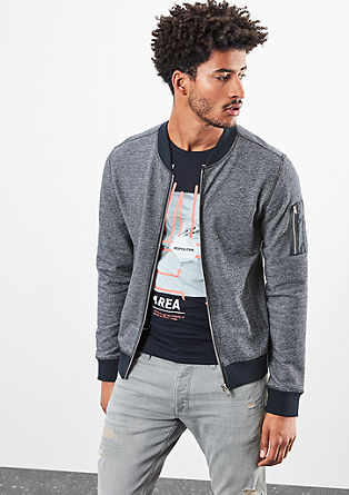 Casual sweatshirt jacket in a melange finish from s.Oliver