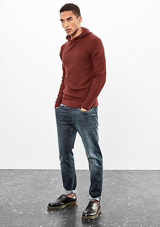 Grobo pleten pulover s kapuco