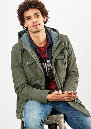 Padded canvas jacket with a hood from s.Oliver
