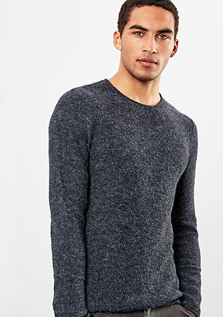 Melierter Pullover in Woll-Optik