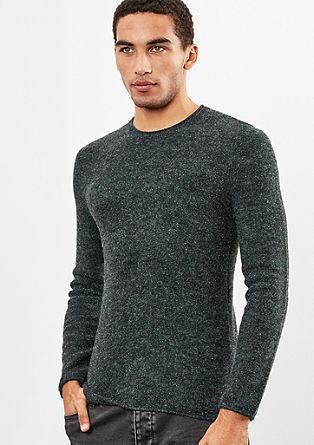 Melierter Pullover in Woll-Optik