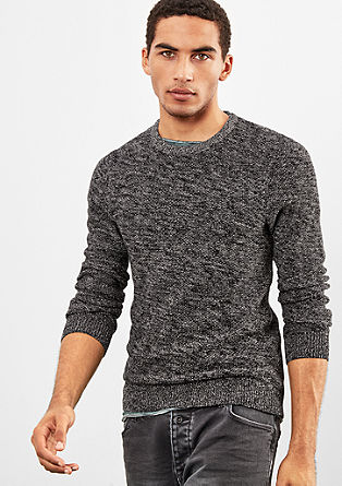 Melierter Pullover aus Strukturstrick
