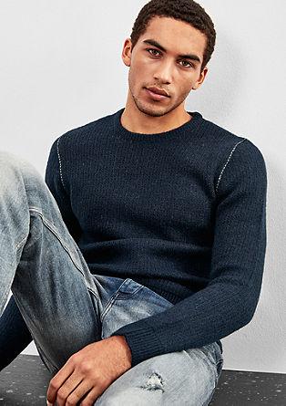 Wollmix-Pullover mit farbigen Nähten