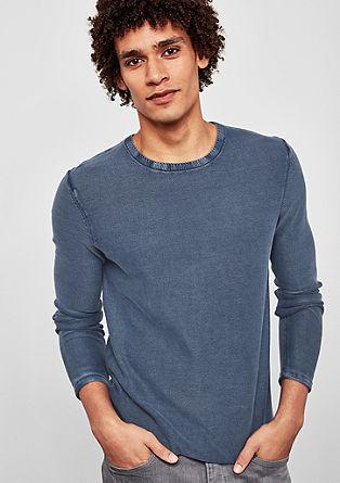 Fijngebreide trui met garment-washed effect