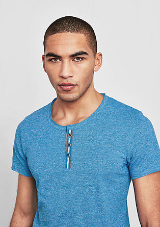 Henley-Shirt mit Melange-Effekt