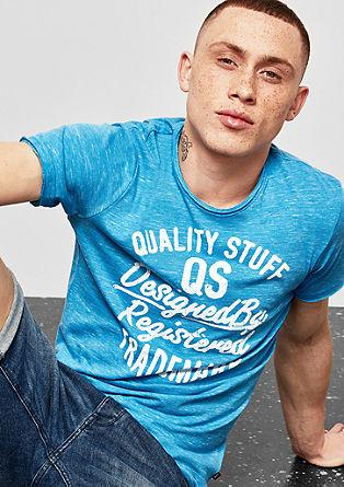 Label-Shirt mit Melange-Effekt