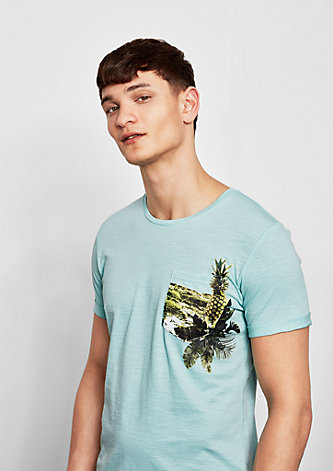 Flammgarnshirt mit tropischem Print