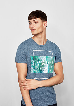 Melange T-shirt with a print from s.Oliver