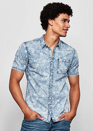 Extra slim: Hawaï-overhemd van denim